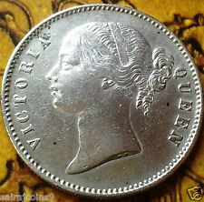 ONE RUPEE 1840 VICTORIA QUEEN DIVIDED LEGEND EAST INDIA CO. IN VF/ XF CONDITION