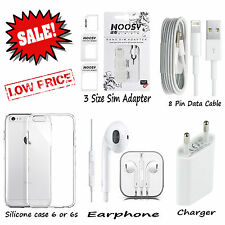 Apple IPhone 6 6s 5S 5 Earphones Charger 8 Pin Data Cable Silicon Case