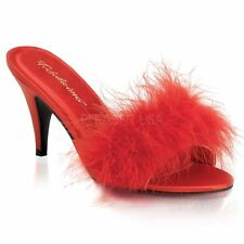 Fabulicious by Pleaser AMOUR-03 Classic Marabou Slipper Women's Red Satin