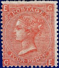1869 SG94 4d Vermilion Plate 11 GE Mounted Mint (MLH)