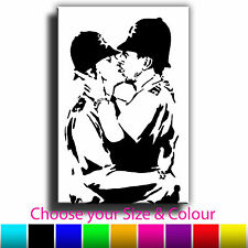 Kissing Police Banksy Single Canvas Wall Art Picture Print