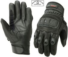 MENS EXTRA KNUCKLE PROTECTIVE VENTED SHORT MOTORBIKE / MOTORCYCLE LEATHER GLOVES