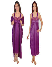 ramE-Hot Bridal Mahroon  2 PC Satin   Night Wear Nighty Womens Sleepware
