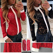 Camicia Donna Manica Lunga Casual Pizzo Woman Shirt Blouse Long Sleeves 541009