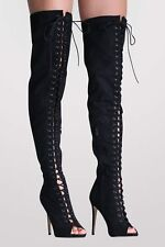 Faux Suede Lace Up Over The Knee Open Toe High Heel Boots in Black