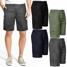 MENS CARGO COMBAT ELASTICATED WAIST SHORTS 6 POCKETS BEACH SUMMER COTTON PANTS