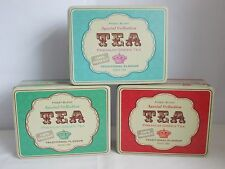 TEA TIN CANISTER BURNT ORANGE, GREEN OR AZURE LUNCH TIN STORAGE CANISTER