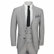 Mens 3 Piece Grey Shawl Lapel Slim Fit Vintage Smart Tux Suit Wedding Party Prom