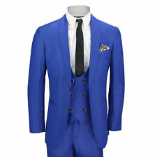 Mens Royal Blue 3 Piece Shawl Lapel Slim Fit Vintage Tux Suit Wedding Party Prom