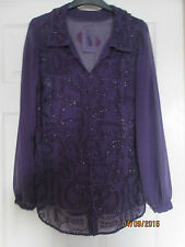 Hand Beaded Purple Evening Party Blouse  RRP £85  10