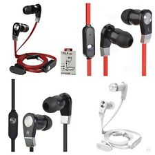 Flat In-Ear Stereo Earphones Headphones Bass Sound With Mic For Iphones Samsung