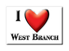 SOUVENIR USA - IOWA FRIDGE MAGNET AMERICA I LOVE WEST BRANCH (CEDAR COUNTY)