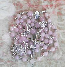 ST THERESE LISIEUX ROSARY Handmade Beautiful Delicate Soft Rose Quartz +Leaflet