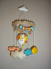 Handmade unisex circus hot air balloon nursery mobile with multi colour bunting