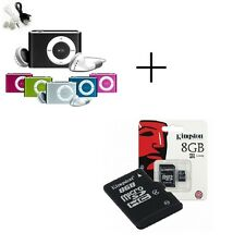 MINI LETTORE MP3 CON CAVO USB E CUFFIE + MICRO SD 8GB KINGSTONE OFFERTONA NEW