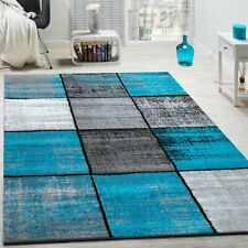 Trendy Rug Grey Turquoise Cream Carpet Hall Runner Woven Stylish Living Room Mat