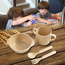 Eco-Friendly Rice Husk Fiber 5PCS/4PCS Baby Tableware Dinnerware Set Cutlery
