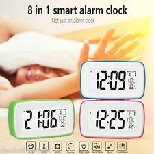 LCD LED Digital Snooze Alarm Recording Clock with Date Temperature Display