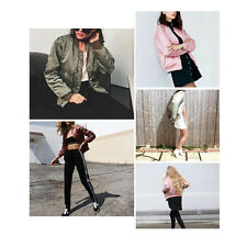 Phenove Stand Collar Thin Zip Bomber Jacket Flight Jacket Coat for women