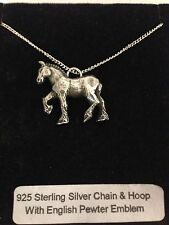 Shire Horse R193 Emblem on a 925 Sterling Silver Necklace 16,18,20,26,30