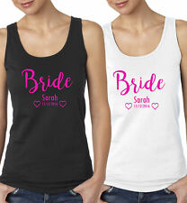 Personalised Bride Vest Top Hen Party Wedding Christmas Gift Present Do Night