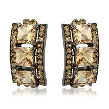 Chunky Square Cut Drop Earrings  Amber and Champagne Colours Swarovski Elements'