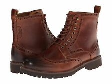 Men's Shoes Clarks Montacute Lord Leather Wingtip Boots 03255 Dark Tan *New