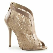 Fabulicious AMUSE-48 Open Toe Bootie With Lace Overlay and Patent Trim Nude