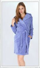 Bademantel Morgenmantel Saunamantel Wellness Fleece Kurz Kapuze Gr. S,M,L