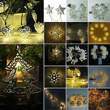 10 LED Battery Operated Metal Lights Fairy String Christmas arty Wedding Lamps