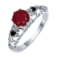 1.11 Ct Round Red Ruby Black Diamond 925 Sterling Silver Ring