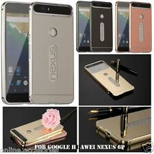 Aluminum Metal Bumper with Mirror Back Cover Case For HUAWEI GOOGLE NEXUS 6P