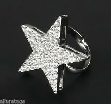 FASHION BLACK SILVER ADJUSTABLE STAR FINGER RING HAND JEWELRY WOMEN ACCESRY GIFT