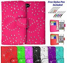 Leather Glittery Bling Sparkle Wallet Holder Case Cover For Apple iPhone 4 4S UK