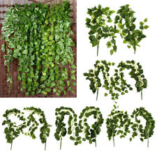 2x Artificial Wall Hanging Green Vine Fake Foliage Leaf for Garen Fence Decor