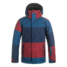 Quiksilver Mission Print Boys Ski Jacket, Stripe Racing Red