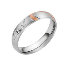 """Women's Designer """"Real Love"""" Heart Couple Band Wedding Ring US Size 4 to 11"""