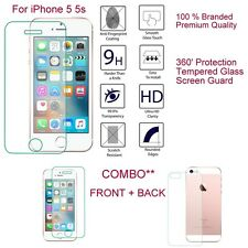For Apple iPhone 5 5S Ultra Crystal Clear Transparent Back Front Tempered Glass