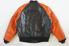 Harley Davidson Men's Vintage Cruiser Bomber Leather Jacket Embossed V-Twin L