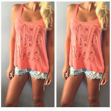 Women Summer Sexy Tank Tops Casual Loose Sleeveless Blouse T-shirt Printed Love