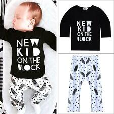 Newborn Baby Boys Girls Kids Casual T-shirt Tops+Pants Outfits Clothes Set 0-36M