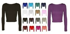 Ladies Women Crop Basic Long Sleeve T Shirt Short Plain Round Crew Neck Top 8-14