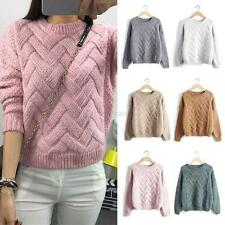 Women Loose Sweater Pullover Jumper Long Sleeve Knitwear Knit Crew Neck Tops