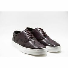 Sneakers in Pelle Stringate Oxford Artigianale Uomo Bordeaux Shoes Lace-up Italy