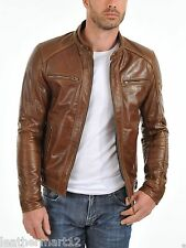 ADARGA 100% Genuine Lambskin Leather Jacket Designer Biker Racer Blazer Men's