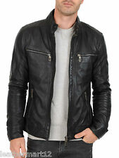 ADARGA Leather Vintage look Designer Black Jacket Biker Racer Blazer for Men's