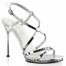 Fabulicious CHIC-09 Platform Criss Cross Ankle Strap Sandal Clear/Silver/Mirror