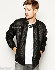 ADARGA 100% Genuine Lambskin Leather Jacket Designer Bomber Biker Blazer Men's