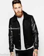ADARGA Genuine Lambskin & Suede Leather Designer Biker Jacket Blazer for Men's