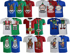 New  Mens Xmas T Shirt Novelty Top Xplicit Christmas Reindeer Elf Print  S-XXXL